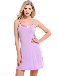 Ekouaer Chemise Womens Sleepwear V-Neck Nightgown Full Slip Sleep Dress S-XXL