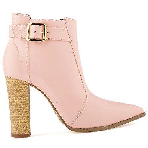 Fereshte Womens Fashion Simple Block Heel Zipper Knight Boots Pu Pink CydarT