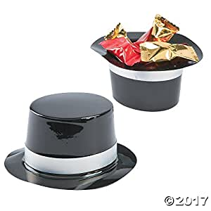 Fun Express Dozen Mini Black Plastic Top Hat Birthday Party Favor Novelty
