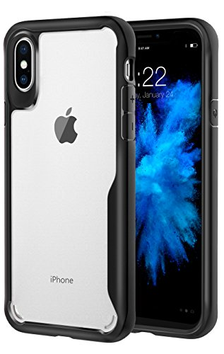For iPhone X Case / iPhone 10 Case, MoKo Clear Slim Fit Lightweight Shockproof Armor Shield, Flexible TPU Bumper Edge + Rigid PC Back Panel Cover for Apple iPhone X 2017 – Black For Sale