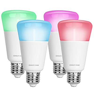 DAILYCOMB E27 Wi-Fi Smart Light Bulb, A19 LED, Dimmable Multicolor, No Hub Required, Free APP and Voice Control, Compatible with Amazon Alexa and Google Home(4 Pack)