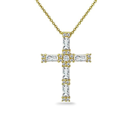 Baguette Yellow Cross - Yellow Gold Flashed Sterling Silver Baguette-cut Cross Necklace Made with Swarovski Zirconia