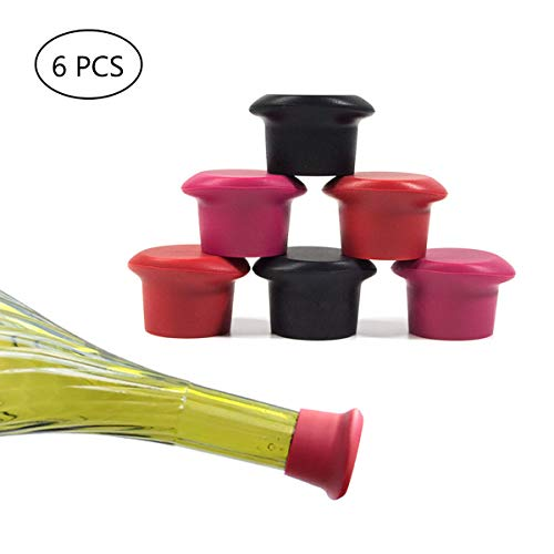 Wine Stoppers ,Kitchenware Bottle Caps,6 PCS of Silicone Wine Reusable Caps Stoppers for Wine and Beer Glass Bottles (Black2,Grape Purple ()