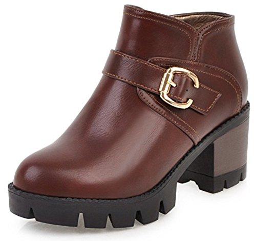 Aisun Womens Buckle Strap Inside Zip Up Round Toe Ankle Boots Platform Mid Block Heel Booties With Zipper Coffee sq2GOfi