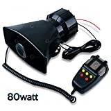 Zone Tech 80W Car Siren Loud Electric Horn Sound with PA Microphone System - Hooter/Fire Alarm/Ambulance/Traffic Emergency