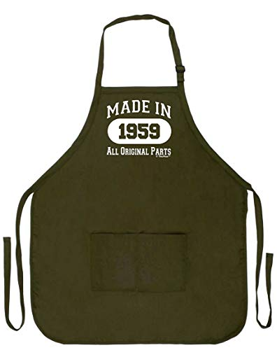 ThisWear 60th Birthday Gift Made in 1959 Funny Apron for Kitchen BBQ Barbecue Cooking Baking Crafting Gardening Two Pocket Apron Birthday Gifts Military Olive Green