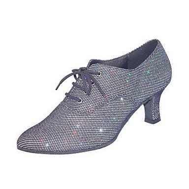 XIAMUO Anpassbare Damen Tanz Schuhe Praxis Schuhe/Ballsaal/Moderne Kunstleder Ferse Grau, Grau, US 9 / EU 40/UK7/CN41