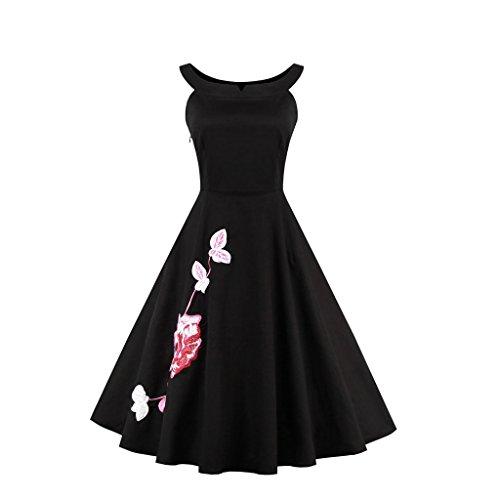 Pinkyee - Vestido - trapecio - para mujer Negro Puro