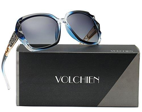 VOLCHIEN Blue Polarized Lens Crystal Frame sunglasses Diamante Sunglasses Grey Ladies UV Protection Metal Arm Rectangle VC1002 (Blue, Grey)