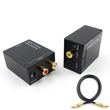 Coaxial Digital de Fibra óptica a Analógico LR de Audio convertidor SPDIF Digital Audio convertidor decodificador/Cable DE 3,5: Amazon.es: Electrónica