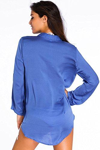 Neue Damen Blau Shirt Kleid Party tragen Tunika Kleider Drapierung ...