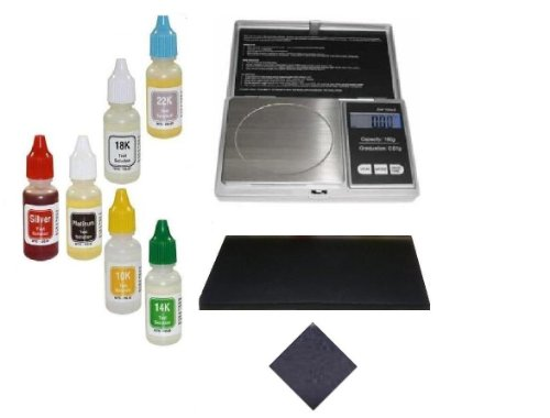 Watch Jewelry Repair Precious Metals Purity Testing Kit w/ Electronic Scale PuriTEST Acid Bottles Stones ()