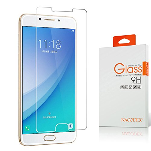 Samsung Galaxy C7 Pro Screen Protector, Nacodex [Tempered Glass] with [9H Hardness] [Crystal Clear] [Easy Bubble-Free Installation] [Scratch Resist] (For Samsung Galaxy C7 Pro)