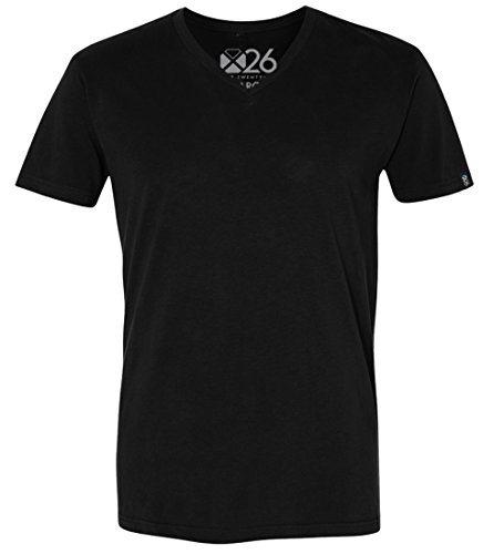 Black Premium Fitted T-shirt - Men's Premium Ultra Soft Sueded V Neck Plain and Heather T-Shirts Premium Black Large