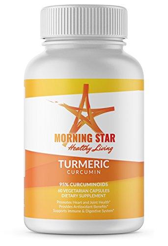 Organic Turmeric Capsules with Curcumin, 95% Curcuminoids from Turmeric Root with Bioperine (Black Pepper), 60 Turmeric Pills, Joint Pain Relief Supplement, Natural Anti Inflammatory, Joint Health ()