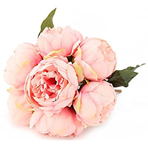 7 Heads Artificial Flowers Pink Peony Silk 3 Leaves Vintage Home Decoration Party Wedding Bouquet 92