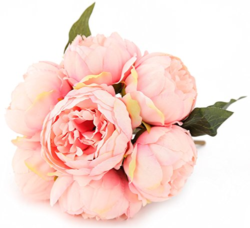 7 Heads Artificial Flowers Pink Peony Silk 3 Leaves Vintage Home Decoration Party Wedding Bouquet (Artificial Flower Peony)