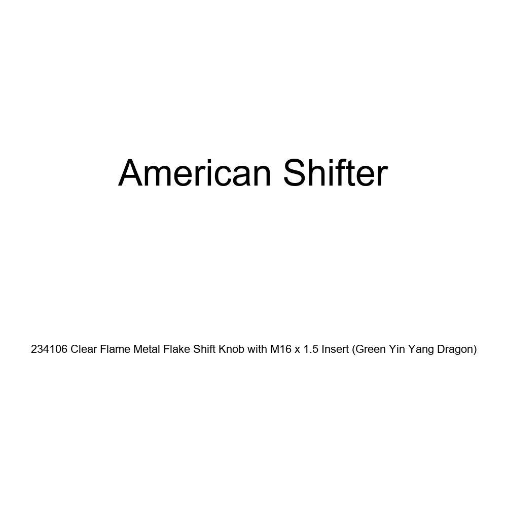 American Shifter 234106 Clear Flame Metal Flake Shift Knob with M16 x 1.5 Insert Green Yin Yang Dragon