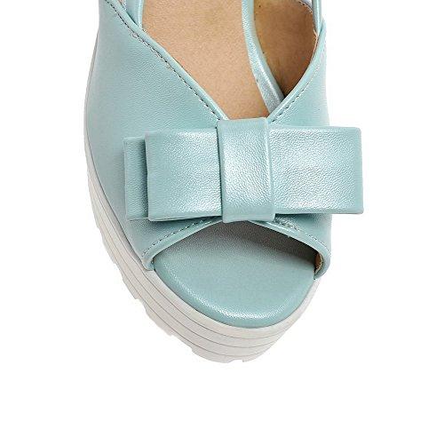 Amoonyfashion Donna Open Toe Tacchi Alti In Materiale Morbido Solido Pull Su Sandali Blu