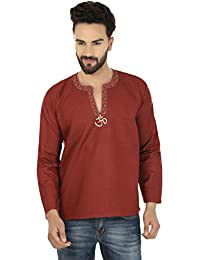 Fashion Shirt Embroidered Mens Short Kurta Cotton India Clothing
