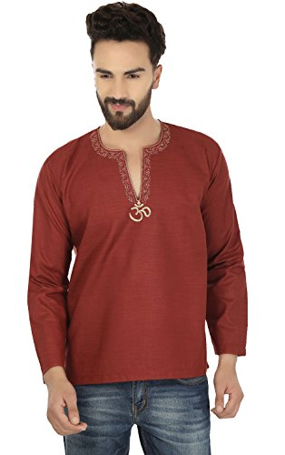 Embroidered Cotton Mens Short Kurta Shirt India Fashion Clothes (Maroon, - 48 Information Hours Contact