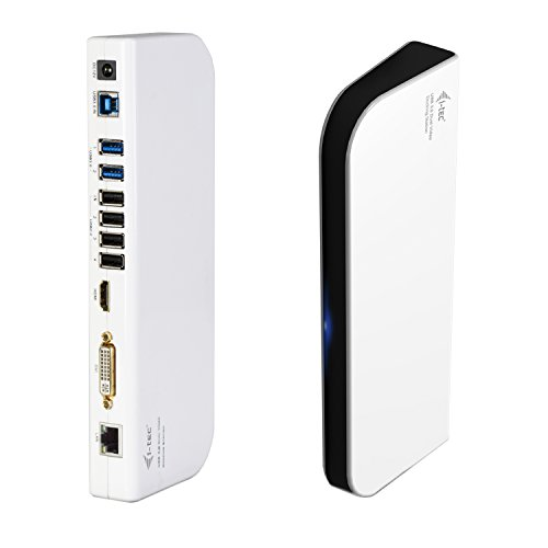 i-tec USB 3.0 Dual Dockingsation für Tablets und Notebooks HDMI DVI 2x Full HD+ 2048x1152 + USB Charging Port für Tablets 4x USB 2.0 Port 2x USB 3.0 Port Gigabit Ethernet, Audioausgang , Mikrophoneingang, Für  Notebook Ultrabook Tablet-abWIN 8.0