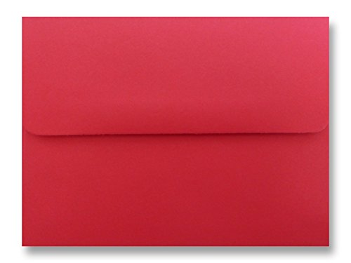 Holiday Red 50 Boxed A7 Envelopes for 5 X 7 Greeting Cards, Invitations, Announcements from The Envelope Gallery