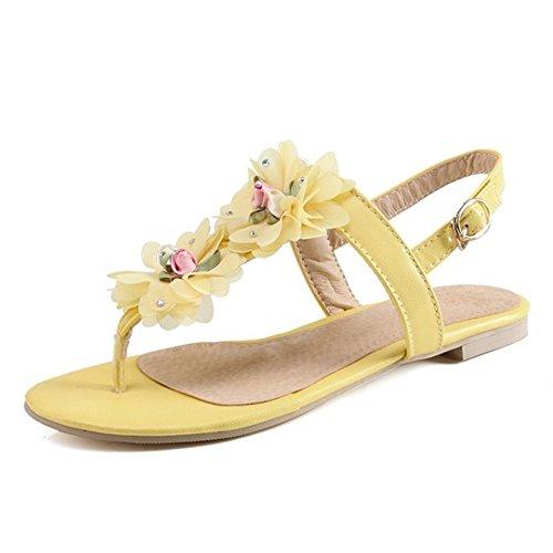 Gelb Yoga Blume Casual TAOFFEN Slingback Flops Frauen Flip Sandalen Flache Thongs qn01vT