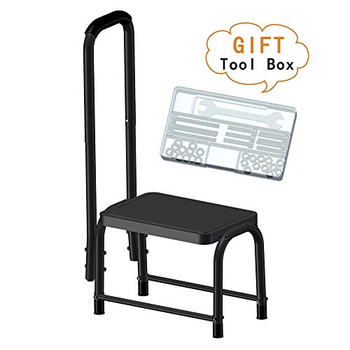 Leekpai Sturdy Step Stool with Handle for Kids,Adults, Seniors. Heavy Duty Holds 300lbs. Non-Slip Safety Step, Attractive Black for Bathroom, Kitchen. Lightweight, Portable,Tool Box for Easy Assembly