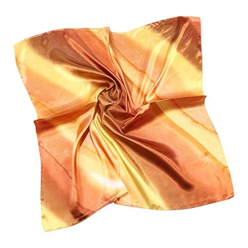 Danyerst Women Imitation Silk Square Scarf, Gradient Rainbow Striped Print, Neck Shawl Handbag Neckerchief Headwrap]()