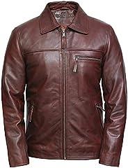 Brandslock Mens Cow Hide Brando Real Leather Jacket Vintage Biker Designer Style