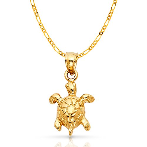 14K Yellow Gold Turtle Charm Pendant with 2.3mm Figaro 3+1 Chain Necklace - 16