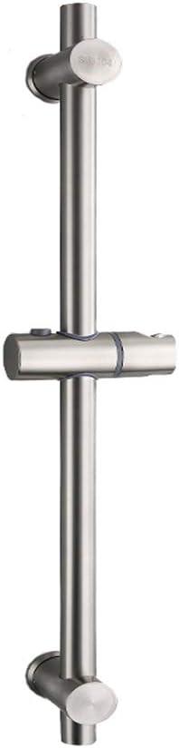Drenky Barra de ducha, Barra de ducha de acero inoxidable 304 con soportes de fijación ajustables en altura y ángulo, cepillado, altura total de 650 mm