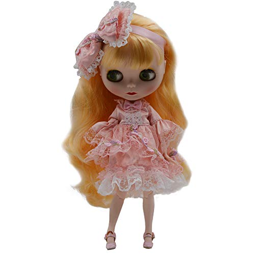 lar to Neo Blythe, 4-Color Changing Eyes Matte Face and Ball Jointed Body Dolls, 12 Inch Customized Dolls Can Changed Makeup and Dress DIY, Nude Doll Sold Exclude Clothes (Yellow3) ()