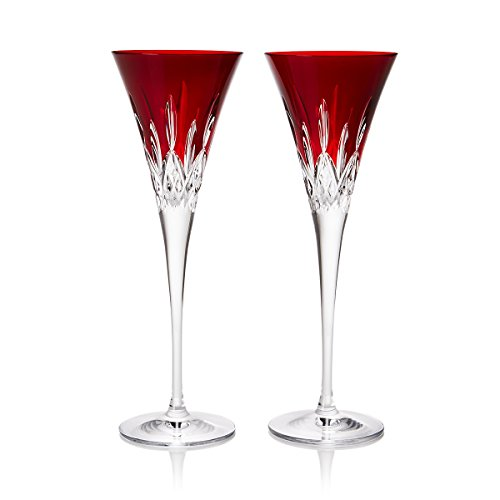 Waterford Crystal Lismore Pops Red Flute Pair by Waterford