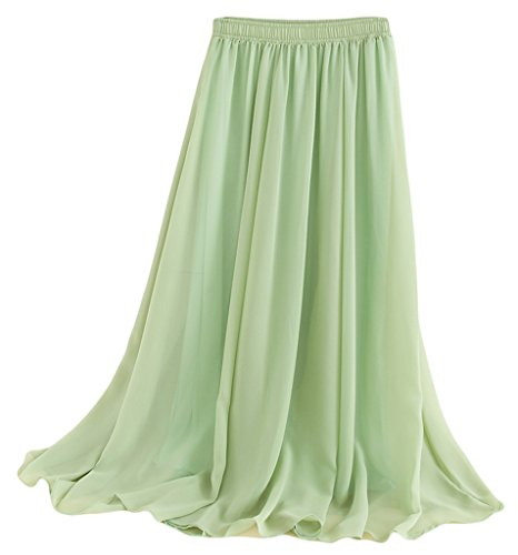 Beauty Girl Women Pure Color Stretched Waist Chiffon Long Skirts Flowy Half Dress
