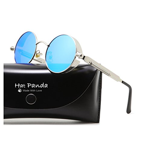 Round Polarized Steampunk Sunglasses Gothic John Lennon Sunglasses For Men And Women (Silver & Mirrored Blue, - Sunglasses Lennon Round