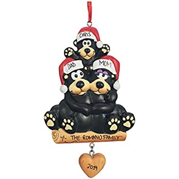 Personalized Christmas Tree Decoration Ornament 2019 - Traditional Home Décor - New Year Santa Gift - Holiday Fun w Hanging Hook - Black Bear Family of 3 - Free Customization