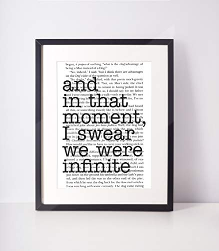 Literary Print - Perks of Being a Wallflower Quote Print, Book Page orArchival Fine Art Paper, Unframed