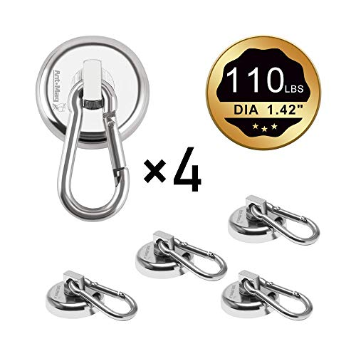 Ant Mag Carabiner Magnetic Hooks 110LBS Heavy Duty Neodymium Magnet Carabiner with Swivel Carabiner Snap Hook for Indoor…