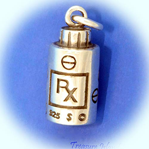 Prescription Medication Rx Drug Pharmacy Bottle 3D .925 Sterling Silver Charm Vintage Crafting Pendant Jewelry Making Supplies - DIY for Necklace Bracelet Accessories by CharmingSS (Best Pharmacy Drug Prices)