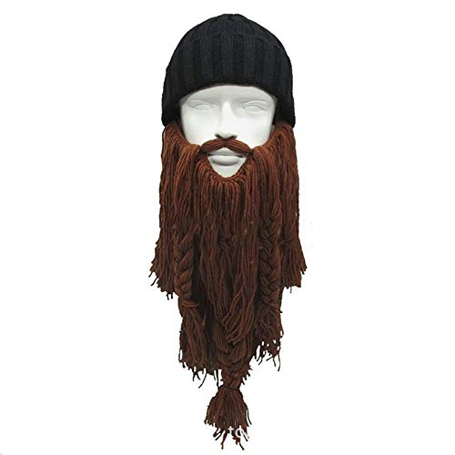 Fancy Face Mask Halloween Handmade Winter Wool Mustache Braid Caps Pirate Face Mask Viking Long Beard Hat Christmas Carnival Cosplay Party Gift Funny Knitted Hats -