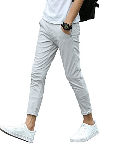 Plaid&Plain Men's Slim Fit Khaki Pants Stretch Cropped Chino Pants Light Grey 38