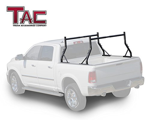 TAC Adjustable Truck Bed Ladder Rack 2 Bars Pick up Rack 500 lbs Capacity Utility Contractor Universal Custom Fit Kayak Canoe Boat Ladder Pipes Lumber Cargo Carrier Accessories