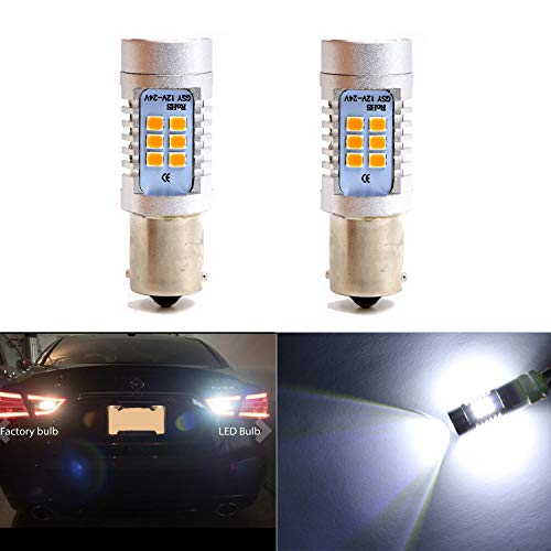 Backup Light 1156 1156A 1156NA 87 93 97 97A 97NA Reverse Lights Bulbs with 21 SMD Xenon White LED 2835 Chips Side Marker Light Daytime Running Light (Set of 2) ()