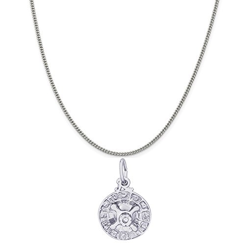 Rembrandt Charms Sterling Silver Roulette Wheel Charm on a Sterling Silver Curb Chain Necklace, 20