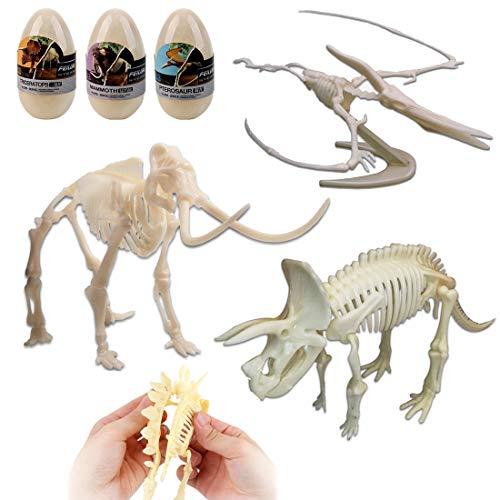 deAO Set de 3 Esqueletos Dinosaurio y Mamut Figuras de ...