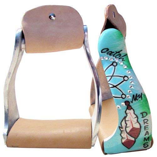 Showman Lightweight Twisted Angled Aluminum Stirrups w/Painted Catch My Dreams Design! New Horse TACK!