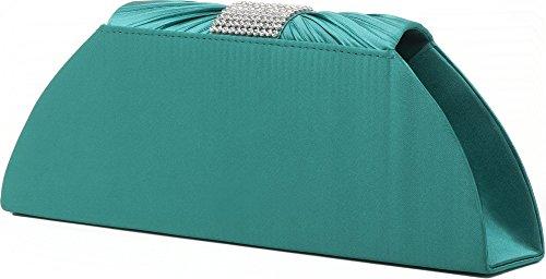 VINCENT PEREZ, Embrague, bolsos de noche, bandolera, bolsos bajo brazo de satén con strass, con cadena extraíble (120 cm), 25,5x11,5x5 cm (AN x AL x pr), color: plata Verde (Smaragd)
