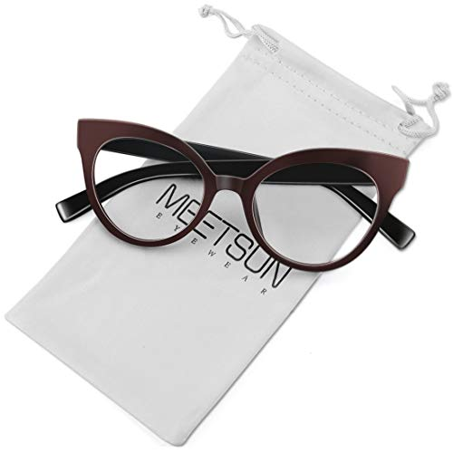 Designer Prescription Eyeglasses - MEETSUN Womens Cat Eye Glasses Frame Fashion Designer Non Prescription Eyeglasses Clear Lens for ladies Brown Red Optical eyewear